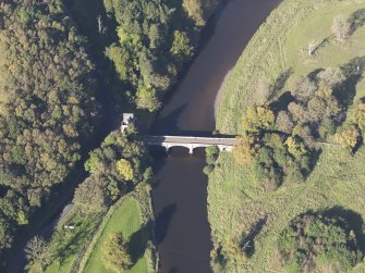 Oblique aerial view of Maudslie Bridge, taken from the SSE.