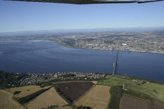 General oblique aerial view of the River Tay centred on the Tay Bridge, taken from the S.