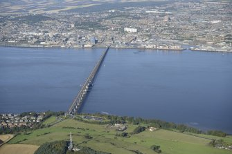 Oblique aerial view of Tay Bridge with Dundee beyond, taken from the SSE.