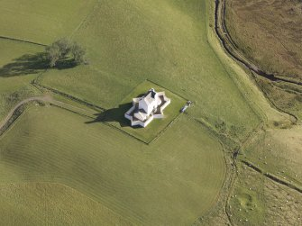 Aerial view of Corgarff Castle, taken from the west.