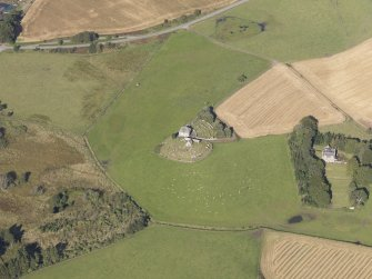 Oblique aerial view of Kildrummy Parish Church, taken from the SE.
