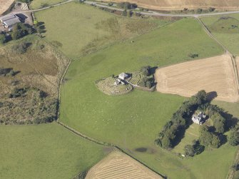 Oblique aerial view of Kildrummy Parish Church, taken from the ESE.