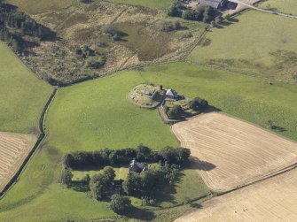 Oblique aerial view of Kildrummy Parish Church, taken from the NE.