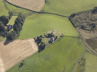 Oblique aerial view of Kildrummy Parish Church, taken from the NW.