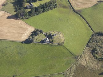 Oblique aerial view of Kildrummy Parish Church, taken from the W.