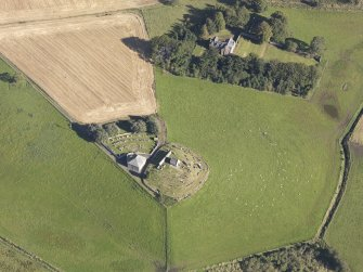 Oblique aerial view of Kildrummy Parish Church, taken from the SSW.