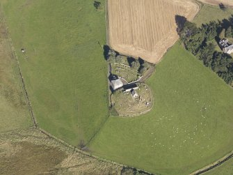 Oblique aerial view of Kildrummy Parish Church, taken from the S.