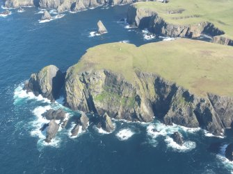 General oblique aerial view of Malcolms Head, Fair Isle, looking NE.