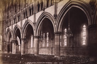 Edinburgh, Palmerston Place, St Mary's Episcopal Cathedral, interior from south west. Titled: 'Arches in nave. St Mary's Cathedral, Edinburgh 4567 G.W.W' PHOTOGRAPH ALBUM NO.195: PHOTOGRAPHS BY G W WILSON & CO.