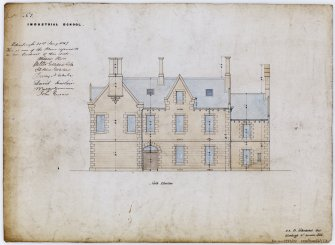 Drawing showing north elevation of Industrial School, Ramsay Lane, Edinburgh, annotated with contract Edinburgh 21 January 1847. Title: 'No7 Industrial School.' Insc: ' D.R. 24 Northumberland Street  Edinburgh 10th December 1846.'
