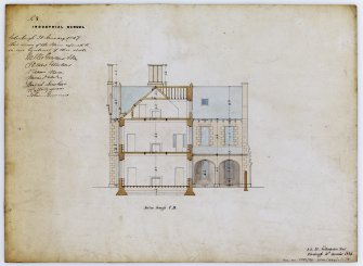Drawing showing section for Industrial School, Ramsay Lane, Edinburgh, annotated with contract Edinburgh 21 January 1847. Title: 'No8 Industrial School.' Insc: ' D.R. 24 Northumberland Street  Edinburgh 10th December 1846.'