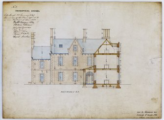 Drawing showing section and elevation for Industrial School, Ramsay Lane, Edinburgh, annotated with contract Edinburgh 21 January 1847. Title: 'No9 Industrial School.' Insc: ' D.R. 24 Northumberland Street  Edinburgh 10th December 1846.'