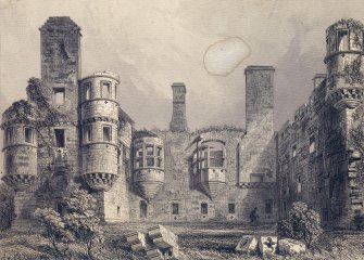 Engraving showing view of Earl's Palace, Kirkwall, from west