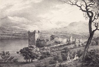 Engraving showing general view of Urquhart Castle