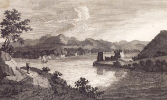 Engraving showing view of Urquhart Castle Titled: 'View of CASTLE URQHUART, in the Shire of Inverness, in SCOTLAND.'