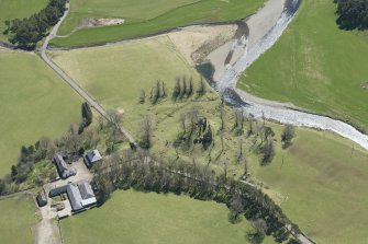 Oblique aerial view of Crawford Castle, looking to the ESE.