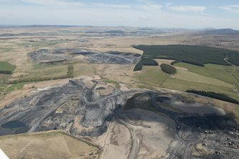 Oblique aerial view of Boghead Open Cast Mine, looking to the NE.