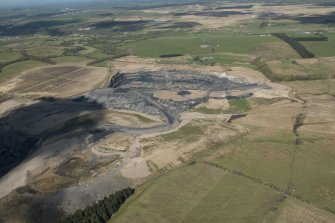 Oblique aerial view of Boghead Open Cast Mine, looking to the N.