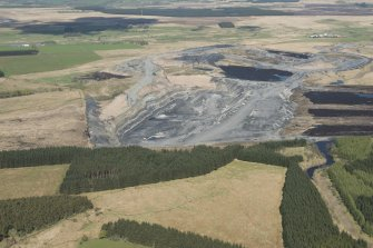 Oblique aerial view of Boghead Open Cast Mine, looking to the NW.