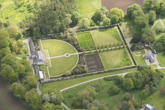 Oblique aerial view of Haddo House walled garden, looking to the E.