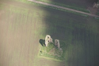 Oblique aerial view of Fedderate Castle, looking to the SE.