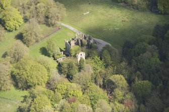 Oblique aerial view of Brucklay Castle, looking to the N.