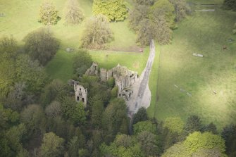 Oblique aerial view of Brucklay Castle, looking to the NW.