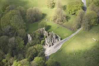 Oblique aerial view of Brucklay Castle, looking to the WNW.