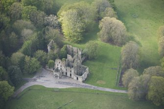 Oblique aerial view of Brucklay Castle, looking to the SW.