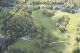 Oblique aerial view of Brucklay Castle, looking to the S.