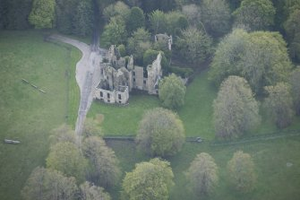 Oblique aerial view of Brucklay Castle, looking to the ESE.