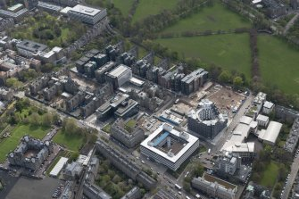 Oblique aerial view of the Quartermile Development on the former Royal Infimary site, looking to the SE.