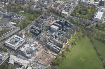 Oblique aerial view of the Quartermile Development on the former Royal Infimary site, looking to the NE.