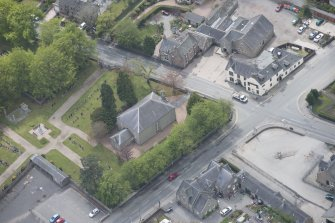 Oblique aerial view of Echt Parish Church, looking to the SW.