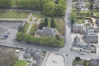 Oblique aerial view of Echt Parish Church, looking to the S.