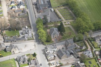 Oblique aerial view of Echt Parish Church, looking to the E.