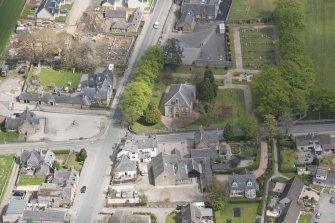 Oblique aerial view of Echt Parish Church, looking to the ENE.
