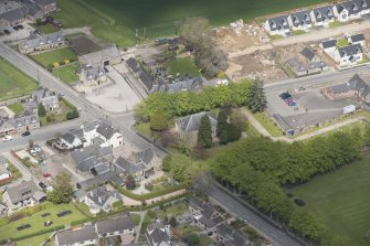 Oblique aerial view of Echt Parish Church, looking to the NNE.