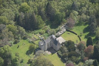 Oblique aerial view of Kemnay House, looking to the S.
