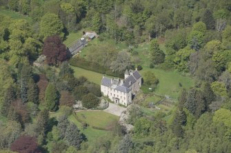 Oblique aerial view of Kemnay House, looking to the  N.