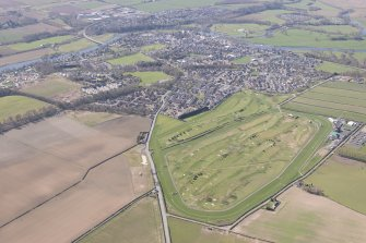 Oblique aerial view of Kelso racecourse and golf course, looking SSW.