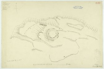 Plane-table survey (redrawn): broch and environs at Drumcarrow.
