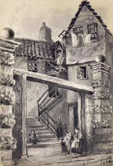 View of Cant's Close in the High Street, Edinburgh. Titled. below: 'Cant's Close, High Street. Entrance to Lord Haliburton's House.'  Titled on verso: 'Exterior of Lord Haliburton's House, Cant's Close'