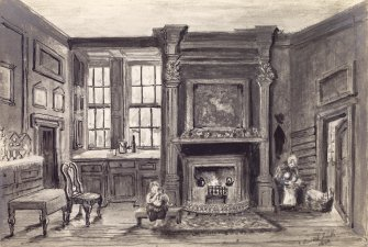 Interior view of house in Cant's Close on the High Street, Edinburgh. Titled: 'The interior of a room in Cant's Close'. Titled on verso: 'Interior of Cant's Close Lord Haliburton's House'.