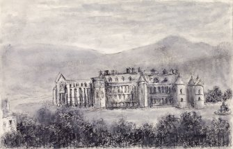 "View of Holyrood Abbey and Palace from North, Edinburgh. Titled:  ""Holyrood Palace and Arthur Seat -from Regent Road"""