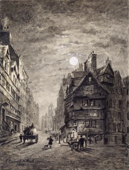 "View of Lawnmarket and top of Upper Bow, Edinburgh. Titled:  ""Head of West Bow Lawnmarket"""