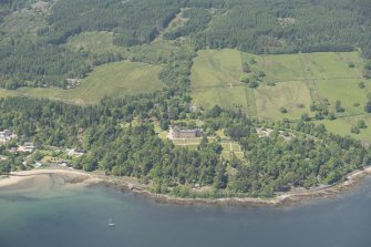 General oblique aerial view of Brodick Castle estate, looking to the NW.