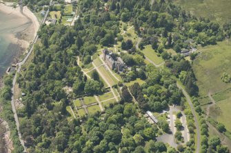 Oblique aerial view of Brodick Castle and walled garden, looking to the SW.