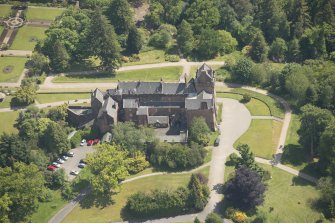 Oblique aerial view of Brodick Castle, looking to the SSE.
