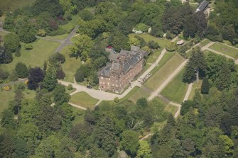 Oblique aerial view of Brodick Castle, looking to the N.